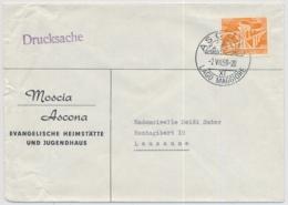 Brief Von Moscia Ascona - Evangelische Heimstätte Und Jugendhaus Mit K-Stempel ASCONA - Marcofilie