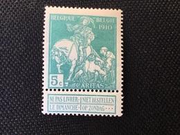 1910. Caritas COB 90 *. MH . ( Effen Achtergrond) - 1910-1911 Caritas