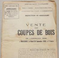 Vente Coupes De Bois, 1939, Inspection De Mirecourt (Vosges) - Sammlungen