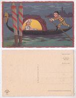 R.Sgrilli-Pierrot Et Jeune, Fille Sur Une Barque, Nuit, Young Harlequin Gondola, Pierrot Pagaie,Arlecchino,gondola Notte - Autres Illustrateurs