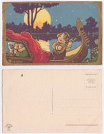 Bernini - Illustree, Fantasie Italienne, Gondole, Baiser, , Romantique, Bacio In Gondola, Illustrata, Signee, Serenata - Autres Illustrateurs