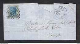 REGNO:  20 C.  VITTORIO  EMAN.  II°  -  ANNULLO  NUMERALE  A  PUNTI  457  DI  PADOVA  PER  VENEZIA - 1861-78 Vittorio Emanuele II