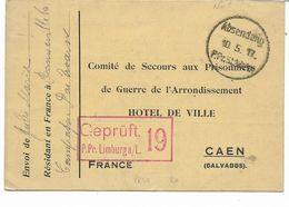 WW1-1917-carte COMITE DE SECOURS DE PRISONNIERS DE CAEN Envoyée Du  CAMP DE LIMBURG Allemagne - Censure - Poststempel (Briefe)