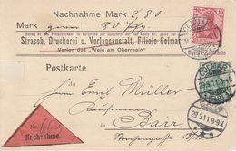 France Alsace Entier Postal Contre Remboursement Colmar 1911 - Marcofilia (sobres)