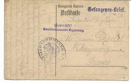 Rare WW1-1914- Camp De RASTIBONNE -prisonnier Français  Voir Les Cachets Censure Garnisonkommando Kegensburg - Guerre De 1914-18
