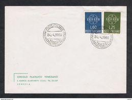 VENEZIA:  24-4-1960  MOSTRA  F.LLO  EUROPEO  -  SASS. 877/78 - Europa-CEPT