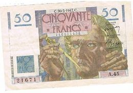 Billet De 50 Francs  Le Verrier 20..3..1947 Serie A45 N°216771 - 1871-1952 Circulated During XXth