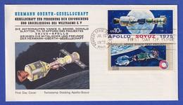 USA-UDSSR Kopplungsmanöver Apollo-Sojus 1975  Zusammendruck Auf FDC  - Space