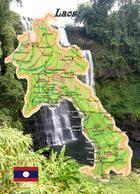Laos Country Map New Postcard Landkarte AK - Laos