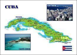 Cuba Country Map New Postcard Kuba Landkarte AK - Cuba
