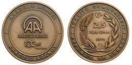 AC - CENTENARY OF ANADOLU / ANATOLIAN AGENCY AA 06 APRIL 1920 - 2020 COMMEMORATIVE BRONZECOIN UNCIRCULATED TURKEY 2020 - Turchia