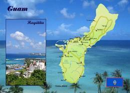 Guam Map New Postcard Insel Landkarte AK - Guam