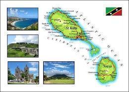 Saint Kitts And Nevis Islands Country Map New Postcard Landkarte AK - Saint-Christophe-et-Niévès