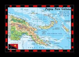 Papua New Guinea Country Map New Postcard Papua-Neuguinea Landkarte AK - Papua New Guinea