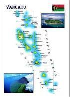 Vanuatu Country Map New Postcard Landkarte AK - Vanuatu