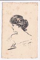 CP ILLUSTRATEUR Portrait De Femme   Dessin à La Plume - Autres Illustrateurs