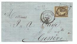 FRANCE 1876:  DDL De LSC De Beaucourt (T. De Belfort) Pour Genève (Suisse) Avec Le Y&T 56  Obl. GC 370 (Ind.4) - 1871-1875 Ceres