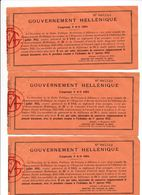 Gouvernement Hellenique  3 Coupons  Emprunt 1884 Gréce Grec - Banco & Caja De Ahorros