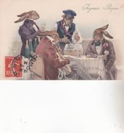 CPA LAPINS à COMPORTEMENT HUMAIN. ( M.M.VIENNE N°725.) - Animaux & Faune