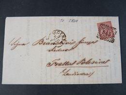 """2840 ITALIA Regno Storia Postale -1866- """"T 15 Cifra"""" C. 2 VICENZA>FRATTA POLESINE (descrizione) - 1861-78 Vittorio Emanuele II"""