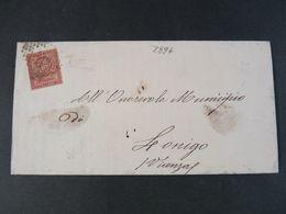 """2896 ITALIA Regno Storia Postale -1866- """"T 15 Cifra"""" C. 2 LONIGO (descrizione) - 1861-78 Vittorio Emanuele II"""