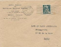 LETTRE 1945 AVEC TIMBRE AU TYPE GANDON PERFORE N G -NOUVELLES GALERIES REUNIES - - France
