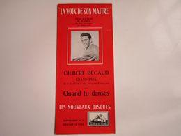 """Gilbert BECAUD - Disques """"LA VOIX DE SON MAITRE"""" - Supplément N°3 12-1953 - Les Nouveaux Disques (dépliant 4 Volets) - Musica & Strumenti"""