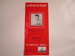 """Gilbert BECAUD - Disques """"LA VOIX DE SON MAITRE"""" - Supplément N°8 07-08-1953 - Les Nouveaux Disques (dépliant 3 Volets) - Musica & Strumenti"""