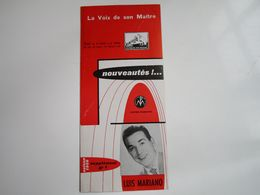 """Luis MARIANO - Disques """"LA VOIX DE SON MAITRE"""" - Supplément N°8 Saison1956 - Les Nouveaux Disques (dépliant 2 Volets) - Musica & Strumenti"""