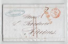 17459 HAMBURG TO RHEIMS - 1844 WITH TEXT - Germany