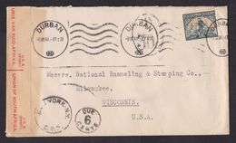South Africa: Cover To USA, 1941, 1 Stamp, Mining, Censored, Censor Label, Postage Due, Taxed (minor Discolouring) - Sud Africa (...-1961)