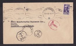 South Africa: Cover To USA, 1944, 1 Small Stamp, Sailor, Postage Due Cancel, Taxed, Via New York (traces Of Use) - Sud Africa (...-1961)