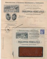PAIX 65C SUR ENVELOPPE ILLUSTRE MANUFACTURE ENGRAIS PHALIPPOU LABASTIDE ROUAIROUX TARN DAGUIN 1938 + DOC COMMERCIAL - Covers & Documents