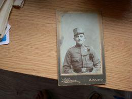 Judaica Old Cardboard Sarajevo S Abinun Soldiers Visite Portrait - War, Military