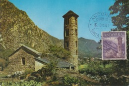 Carte  Maximum   ANDORRE   Eglise  De  SANTA  COLOMA   1963 - Andorra Española
