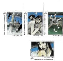 ILLUSTRATEUR ENKI BILAL 1993 VIGNETTES LOT 4 AUTOCOLLANTES POUR LA PAIX EN EX YOUGOSLAVIE - Autres Illustrateurs