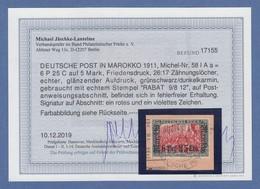 DAP Marokko Mi.-Nr. 58 Gest. RABAT Auf PA-Ausschnitt, Einwandfrei, Befund BPP. - Deutsche Post In Marokko