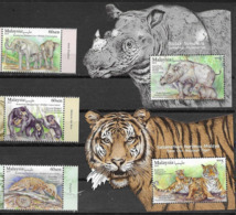 MALAYSIA, 2019, MNH, WILDLIFE CONSERVATION, RHINOS, TIGERS, ELEPHANTS, BEARS, PANGOLINS, 3v+ 2 S/SHEETS - Big Cats (cats Of Prey)