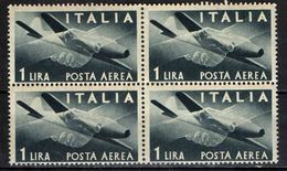 "ITALIA - 1945 - SERIE ""DEMOCRATICA"" - FILIGRANA RUOTA - VALORE DA 1 LIRA - IN QUARTINA - MNH - 6. 1946-.. Republik"