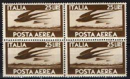 "ITALIA - 1947 - SERIE ""DEMOCRATICA"" - FILIGRANA RUOTA - VALORE DA 25 LIRE BRUNO - IN QUARTINA - MNH - 6. 1946-.. Republik"