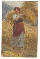 CLA535 - ILLUSTRATORE GARAVAGLIA DONNA WOMAN PIN UP MIETITURA GRANO 1919 - Other Illustrators