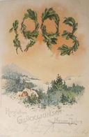 """""""Neujahr, Abendrot, Winterlandschaft"""" 1902, Prägekarte ♥  - New Year"""