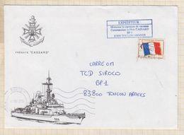 20T24 MARCOPHILIE Militaire FREGATE CASSARD TOULON ARMEES 2003 - Cartes De Franchise Militaire