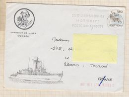 20T18 MARCOPHILIE Militaire CHASSEUR DE MINES PERSEE NORVEGE 1988 - Cartes De Franchise Militaire