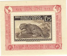 Belgisch Belgian Congo Belge 1,75 F Block Messages Overprint UPU (COB 5A) */** MVLH - Congo Belga