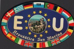 Stikers San Marino Plate European Union Flags Adesivo Targa Unione Europea Bandiere Autocollant Saint-Marin FAS00009 - Vignettes Autocollantes