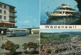 Wädenswil Multi-vues Animée De La Ville Car Autocar Bus Autobus Bateau Bac Le Lac De Zurich - ZH Zürich
