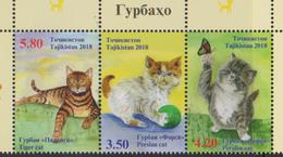 TAJIKISTAN, 2018, MNH, CATS, BUTTERFLIES, 3v - Gatos Domésticos