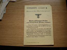 Deutsche Reichspost Ruzhzahlungsscheine Zum Postsparbuch Gleicher Nummer - 1939-45