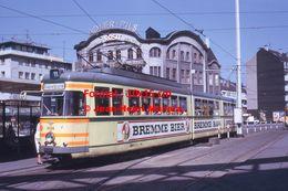 Reproduction Photographie D'un Tramway Ligne 11 Gabelpunkt Avec Publicité Bremme Bier à Wuppertal En Allemagne 1973 - Reproducciones